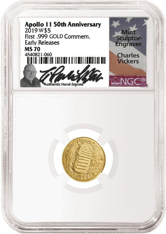 $5 Gold Apollo MS Coin NGC MS70 Early Releases signed by Charles Vickers