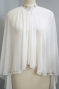 Embellished Chiffon Cape - White