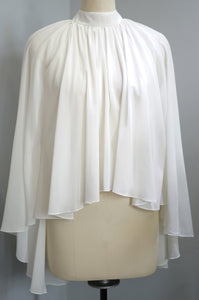 Plain Chiffon Cape - White