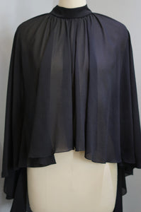 Plain Chiffon Cape - Black