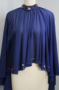 Embellished Chiffon Cape - Navy Blue