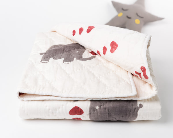 Organic Baby Quilt: Elephants with Hearts (Natural Dyes)