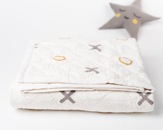 Organic Baby Quilt: X & O (Natural Dyes)