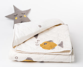 Organic Baby Quilt: Fish (Natural Dyes)
