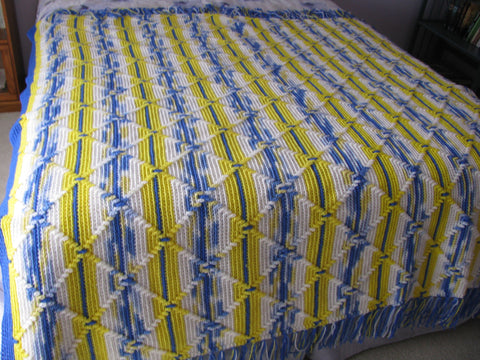 Classic Navajo Afghan Pattern Crocheted In Blues And Yellows