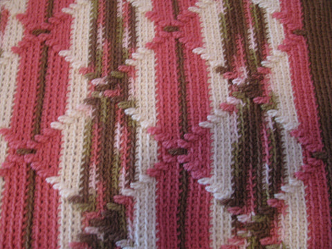Pink Camouflage Navajo Pattern Handcrocheted Afghan Homemade From
