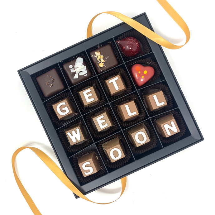 """Get Well Soon"" Chocolate Letter Box - Cocoa40 Inc. - Gourmet Chocolate Made in Canada"