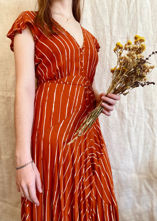 Coco Rust Wrap Midi Dress