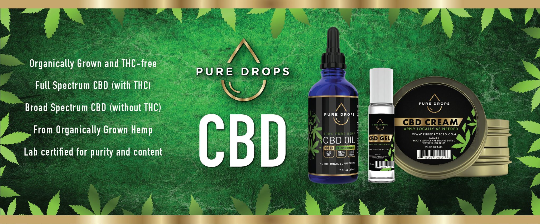 Collection of CBD products such as CBD oil, CBD cream and CBD gel