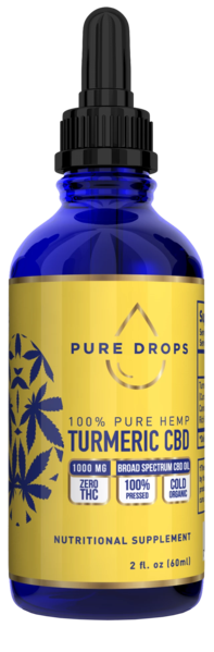 Turmeric Based CBD Oil 1000 mg in 60 ml (2 fl. oz.) - PureDropsCBD