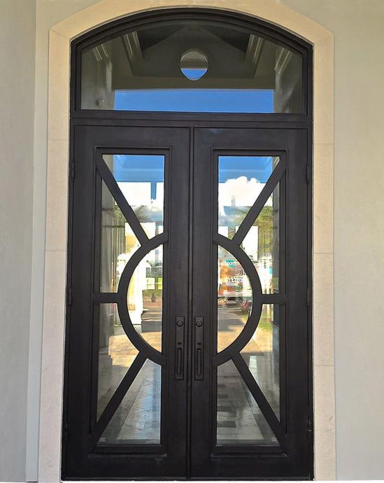 Sheraton 73.5x96 Eyebrow Arch Iron Door