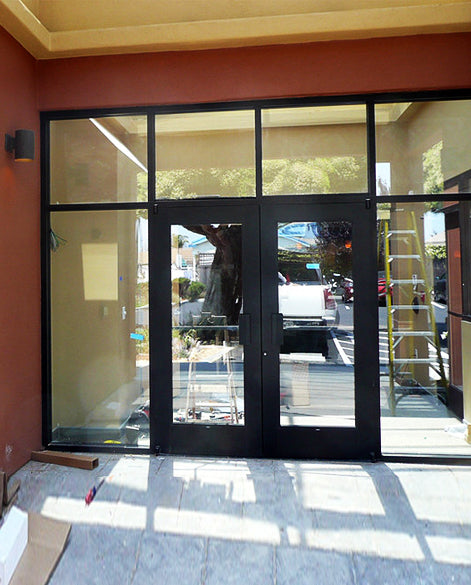 Store Front 3 French Pull Handle Iron Door