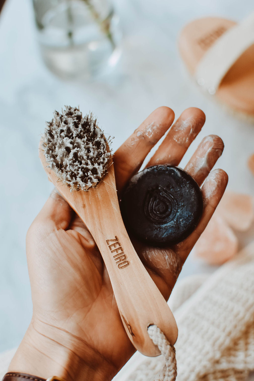 Face Brush + Charcoal Soap