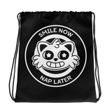 Smile Now, Nap Later Drawstring bag