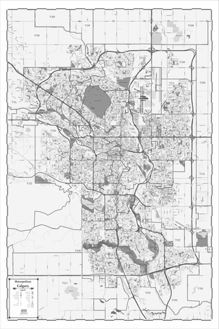 ProGeo Metro Calgary  BLACK AND WHITE Marketing Map laminated with with Postal Codes