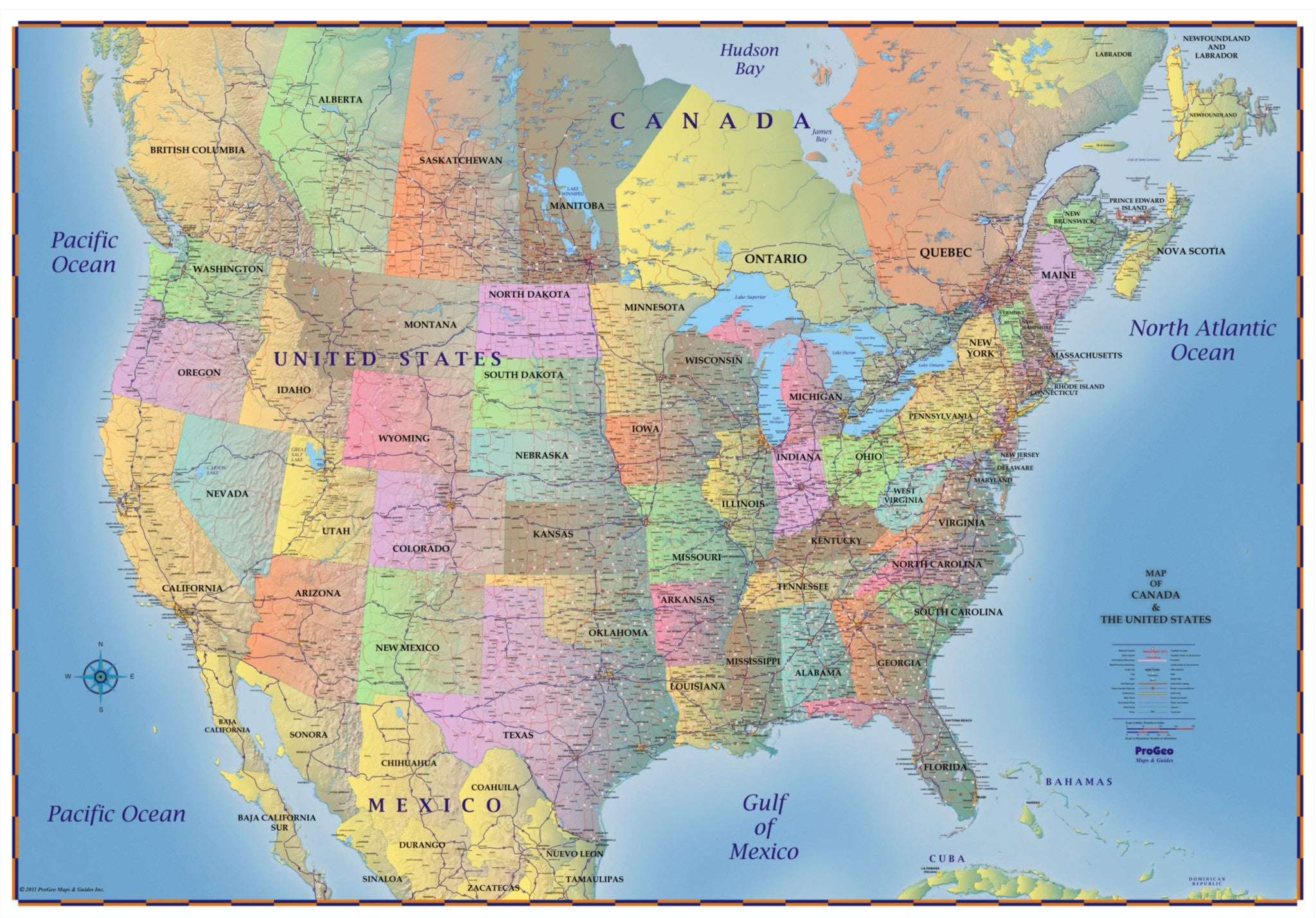 Map Usa States And Canada Trucker's Wall Map of Canada, United States and Northern Mexico