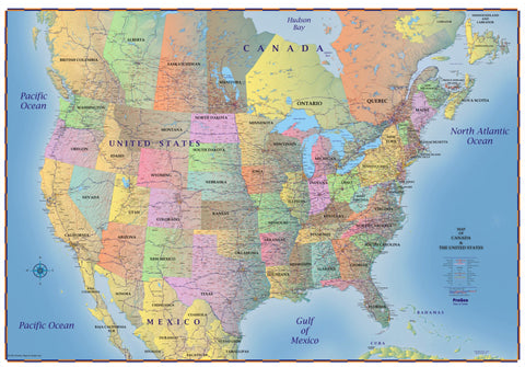 Map of canada and usa 2018 laminated progeo maps guides truckers wall map of canada united states and northern mexico 2018 sciox Images
