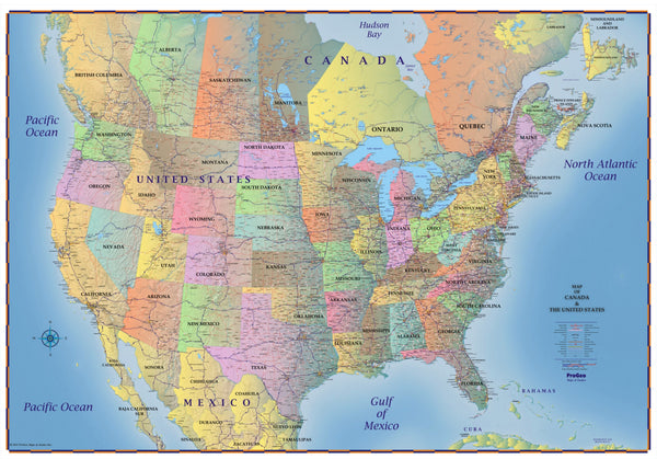 Map Of The United States Picture.Trucker S Wall Map Of Canada United States And Northern Mexico 2019
