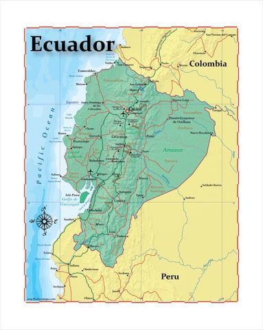 Map of Ecuador 8 x 10 Print