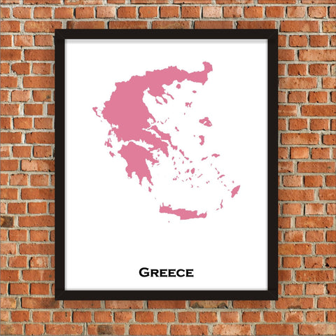 Minimalist Map Print of Greece 16 x 20  Pink