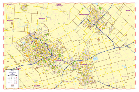 "ProGeo City Maps - Metro Guelph, Cambridge, Kitchener, Ontario with ZIP CODES Large  48"" X 72  LAMINATED 2020 EDITION"