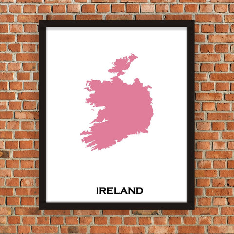 Minimalist Map Print of Ireland 16 x 20  Pink