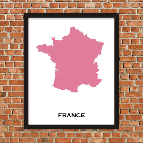 Minimalist Map Print of France 16 x 20