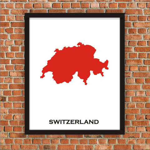 Minimalist Map Print of Switzerland 16 x 20  Carnival Red