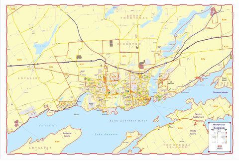 Map of Kingston Ontario - Large and laminated New 2021 Edition with Postal Codes