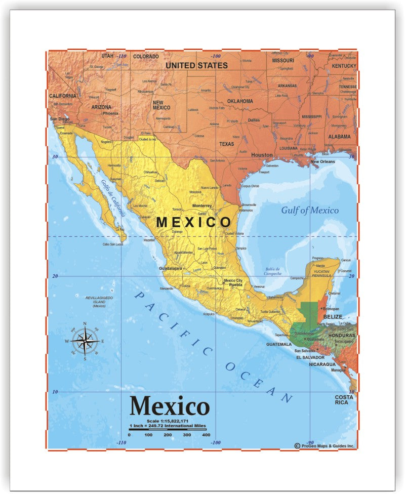 graphic relating to Printable Maps of Mexico named ProGeo Map of Mexico 8 x 10 Print or framed ProGeo Maps