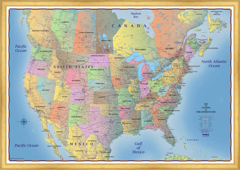 Simulated Gold Leaf Framed Trucker's Wall Map of Canada, United States & Northern Mexico
