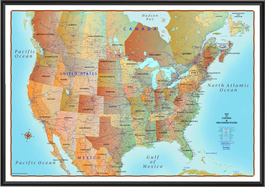 Map of Canada and United States Antique style