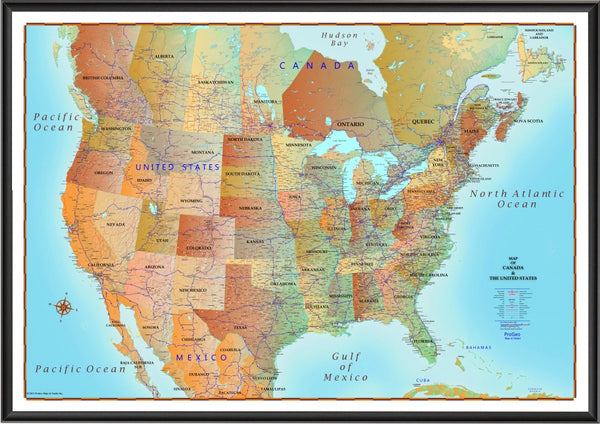 Map Of Canada And United States Antique Style Progeo