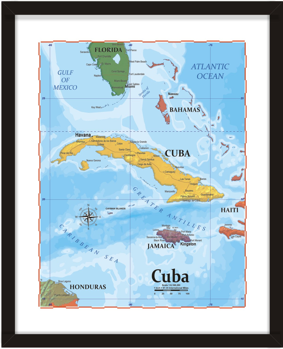 photo about Printable Map of Cuba named ProGeo Map of Cuba 8 x 10 Print or framed ProGeo Maps Publications