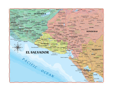 Map of El Salvador 8 x 10 Print