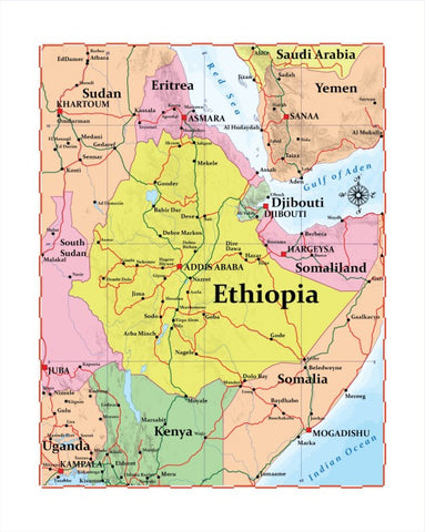 Map of Ethiopia 8 x 10 Print