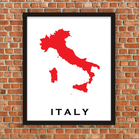 Minimalist Map Print of Italy 16 x 20  Carnival Red