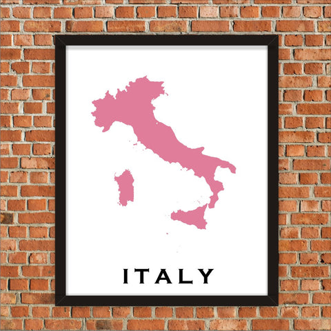 Minimalist Map Print of Italy 16 x 20  Pink