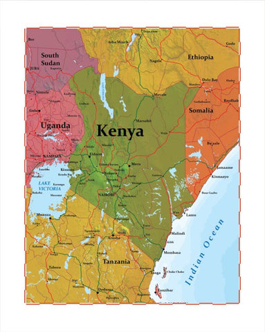 Map of Kenya 8 x 10 Print