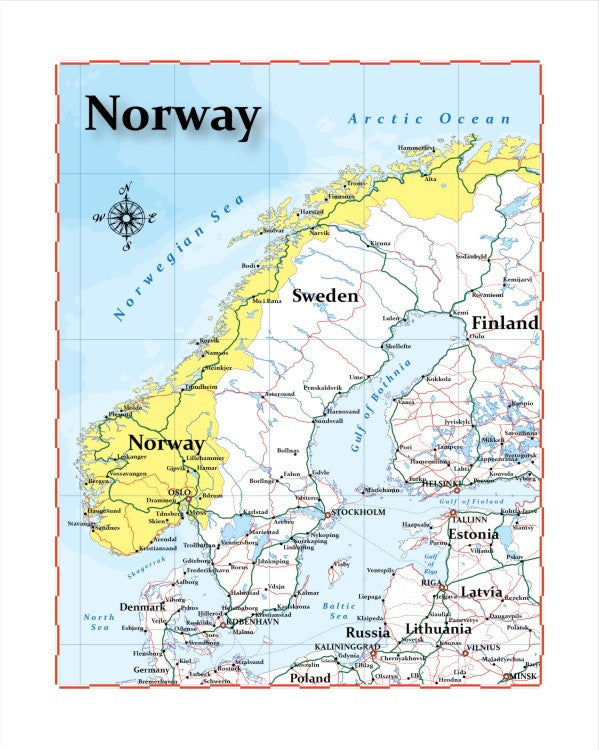 Map of Norway 8 x 10 Print Norway Map Office Com on norway outline,