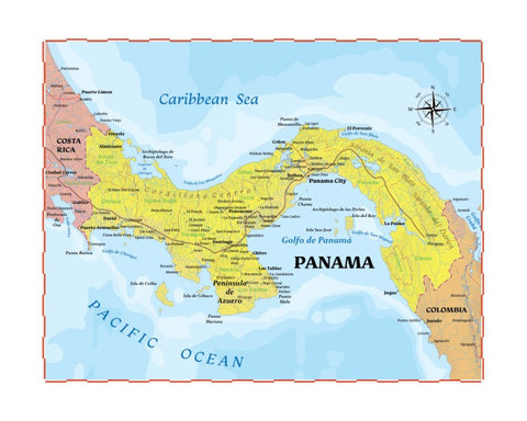 Map of Panama 8 x 10 Print