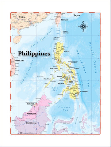 Map of Philippines 8 x 10 Print