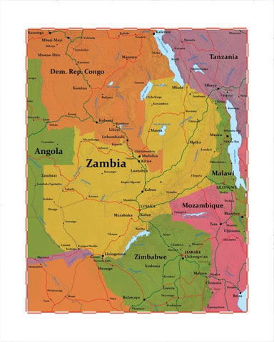 Map of Zambia 8 x 10 Print