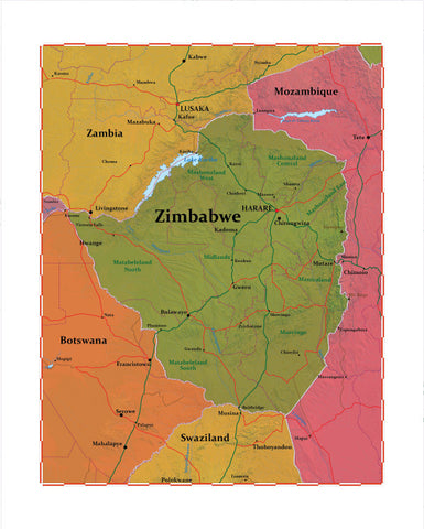 Map of Zimbabwe 8 x 10 Print