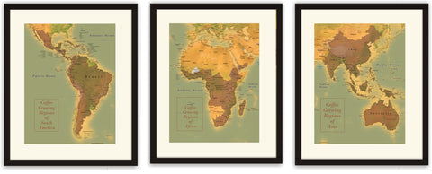 Set of 3 Coffee Region Maps - South America, Africa and Asia