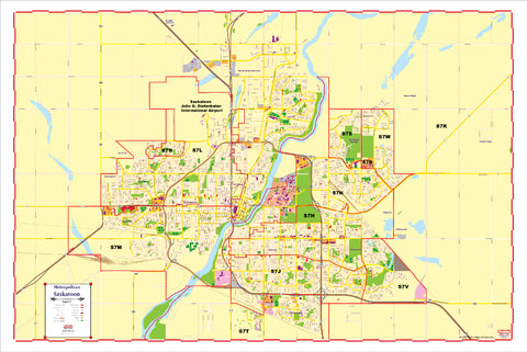 Map of Saskatoon - Large and laminated New 2021 Edition with Postal Codes