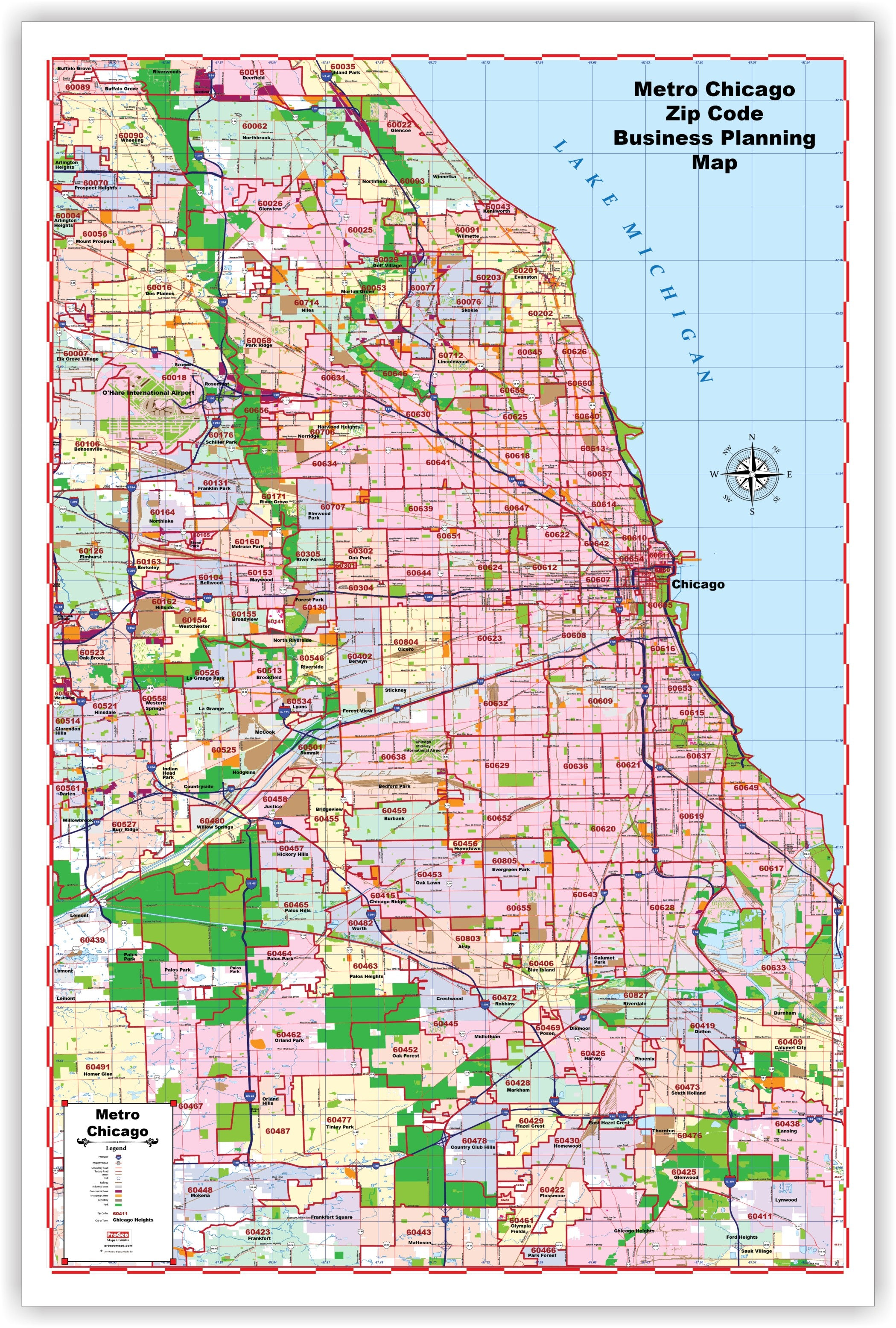 Progeo Maps Marketer S Wall Map Of Chicago Metropolitain With Zip