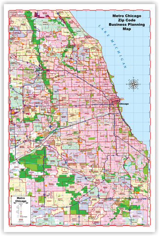 "ProGeo City Maps - Metro Chicago with ZIP CODES Large  48"" X 72  LAMINATED 2020 EDITION"