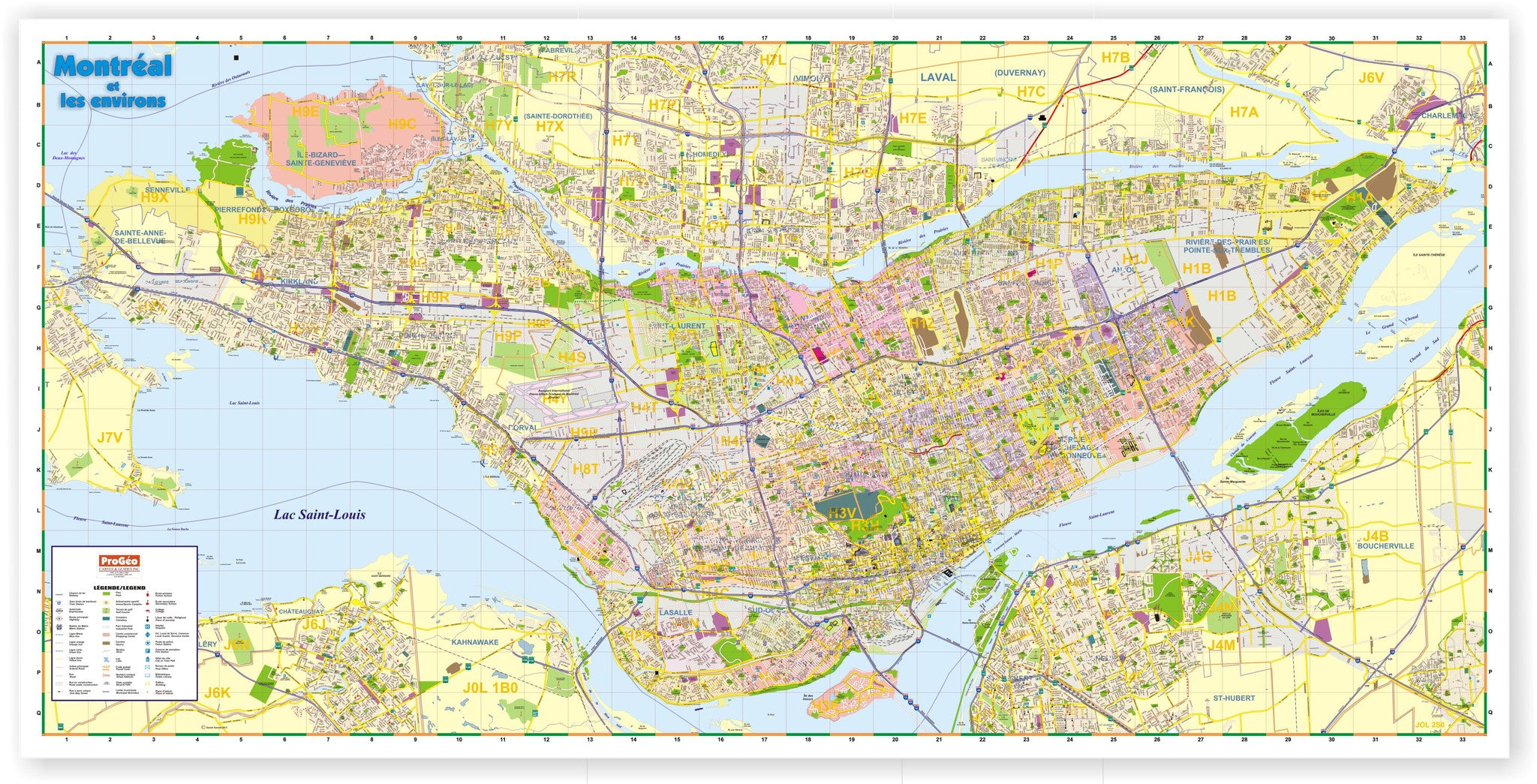 Montreal Postal Code Map ProGeo Marketing Map of Montreal Island Laminated Postal Codes  Montreal Postal Code Map