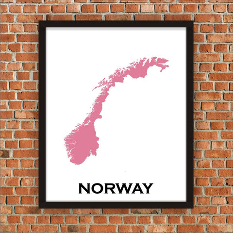 Minimalist Map Print of Norway 16 x 20  Amaranth Pink